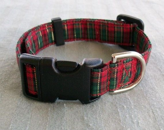Christmas Plaid Small Dog Collar by Mutt Mania on Etsy, $8.00