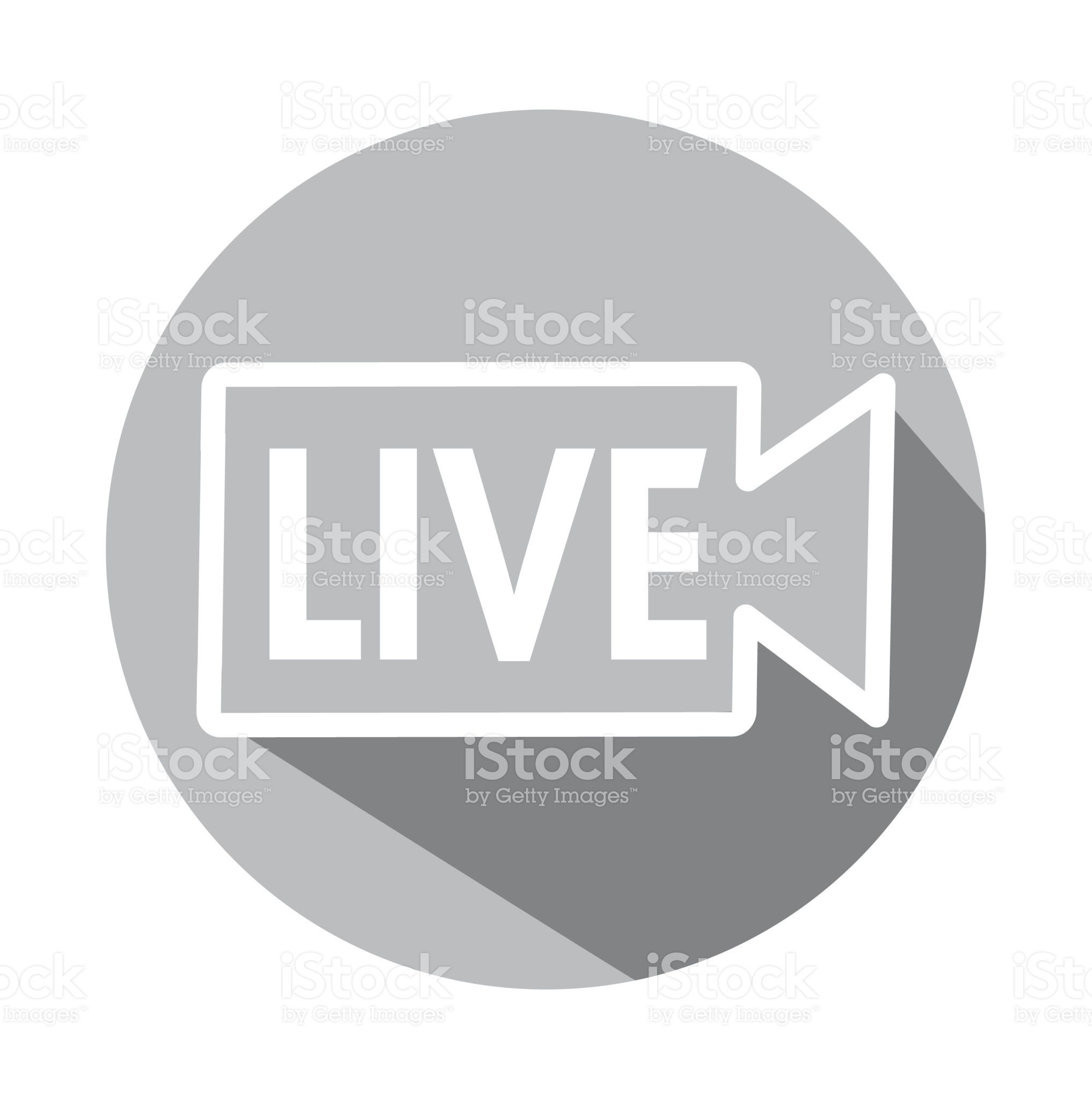 Vector illustration of a simple round Live button with