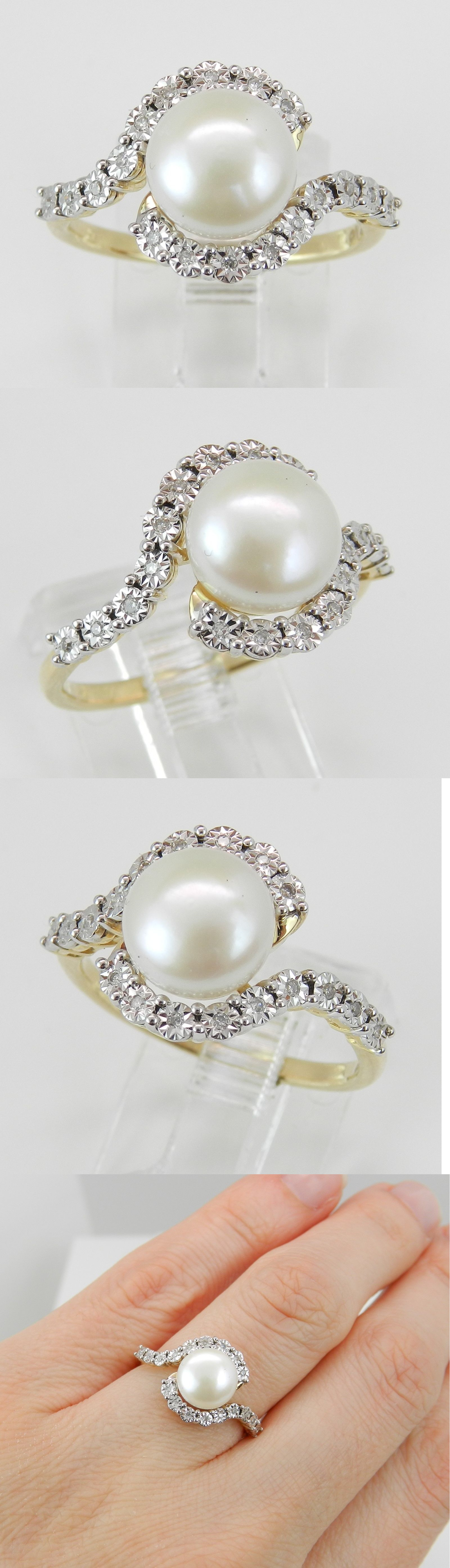 Pearl 11021: 14K Yellow Gold Diamond And Pearl Bypass Engagement Ring Size 7 -> BUY IT NOW ONLY: $298 on eBay!