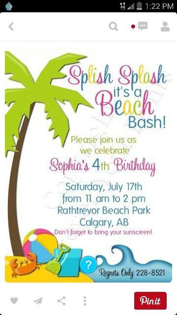 Bday Invite Cards Beach Birthday Party