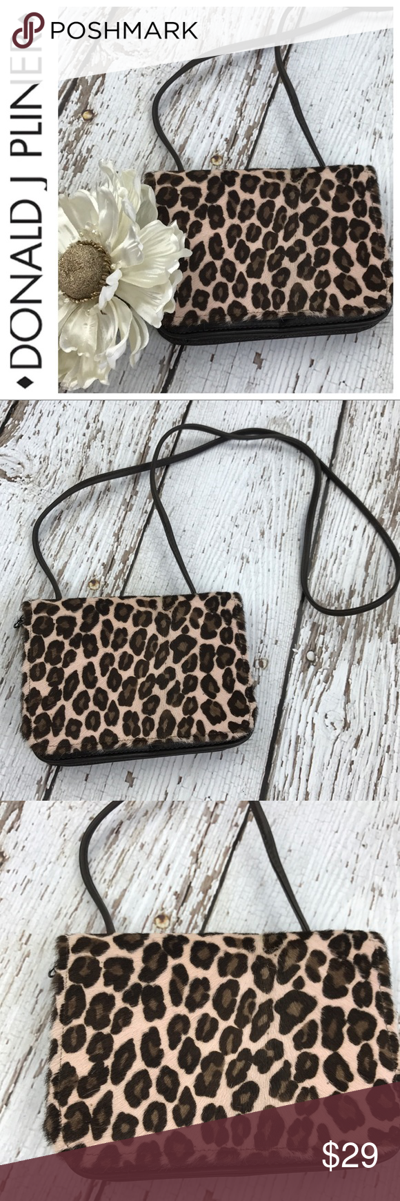 "💕SALE💕Donald J. Pliner Leopard Print Calf Hair Gorgeous 💕Donald J. Pliner Leopard Print Calf Hair Crossbody Bag with Mirror and inside Zippered compartment 7"" W x 5"" H Donald J. Pliner Bags Crossbody Bags"