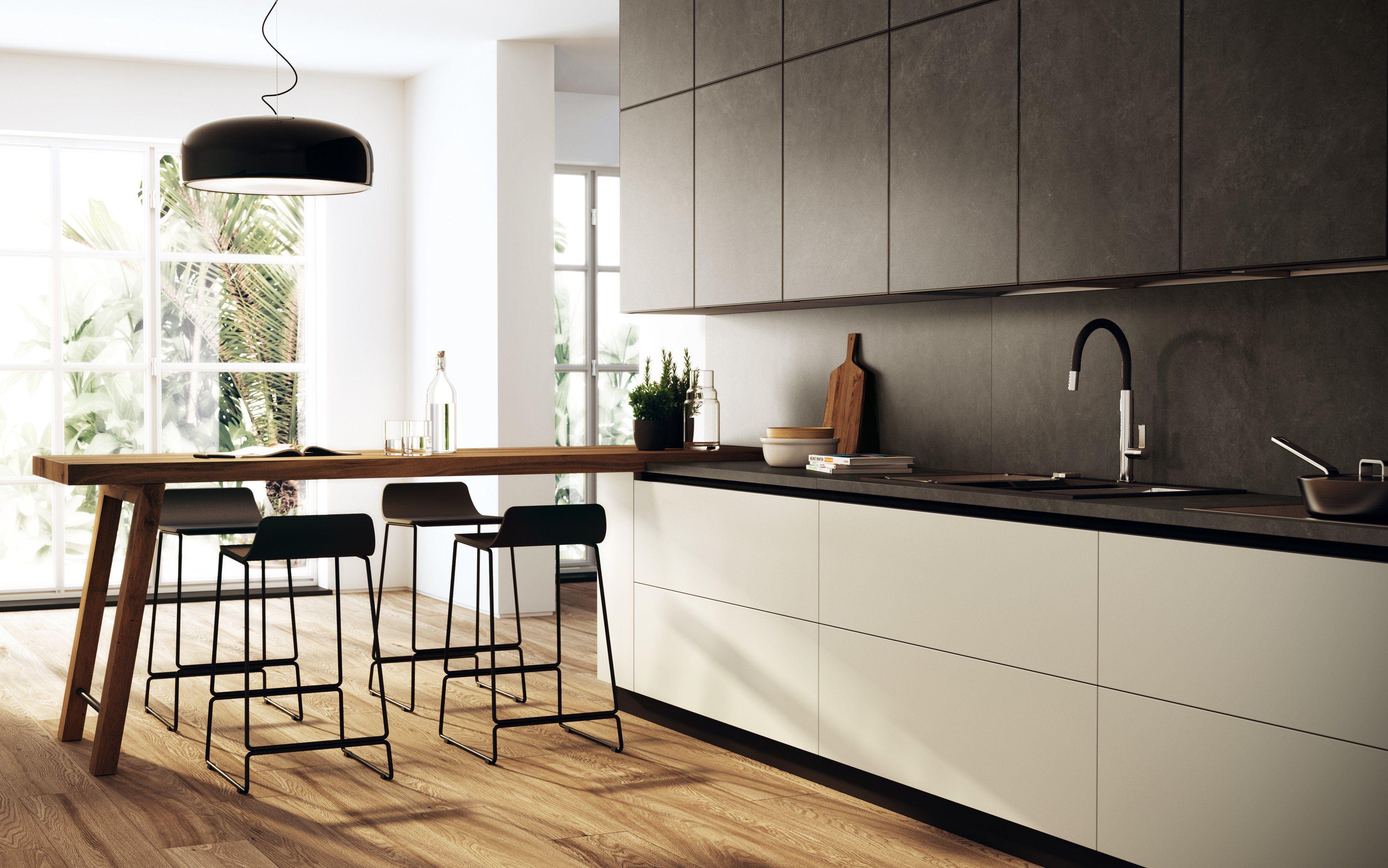 La cucina Scenery di Scavolini ha ante senza maniglie rivestite in ...