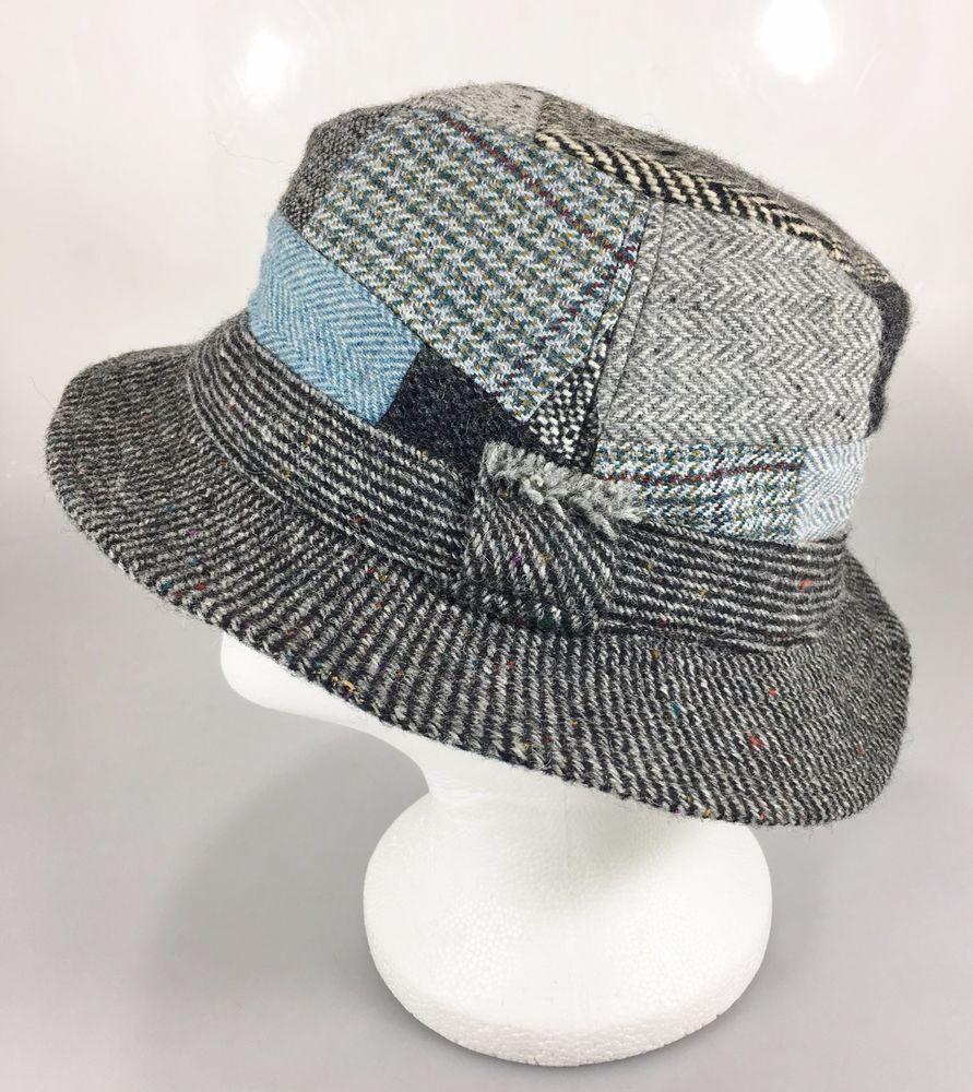 Hanna Hats Mens M Gray Blue Tweed Herringbone Patchwork Wool Crusher Hat  Ireland  HannaHats  FedoraTrilby 52ff5551310