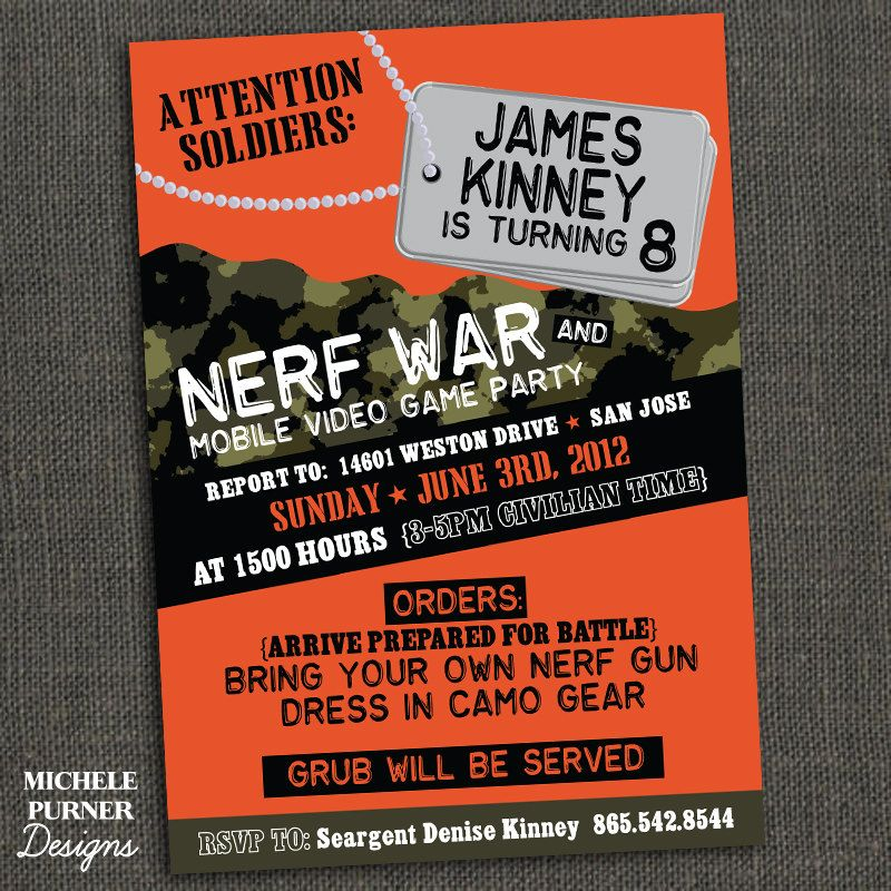 Boys Camo Birthday Party Invitation Or Nerf War Party Printable Or