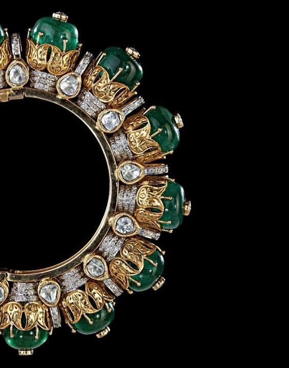 Emeralds And Diamond Kada Jewellery Jewelry Diamond