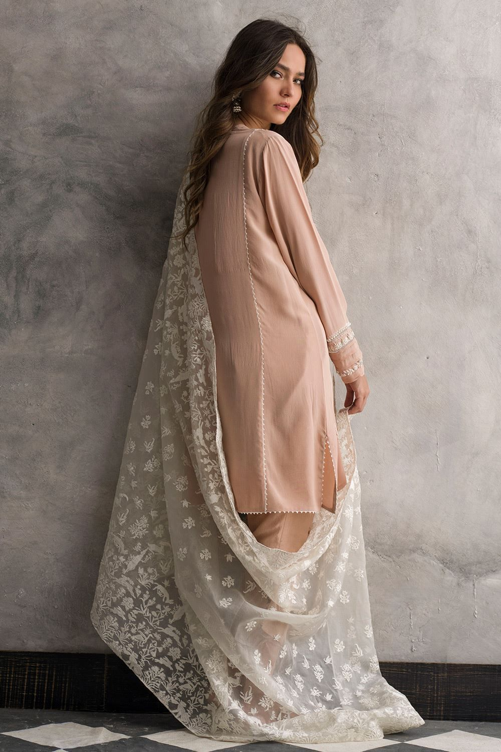 Faded pink crepe silk dress by nida azwer pakistani dresses