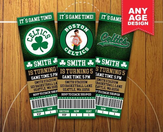 photograph relating to Boston Celtics Printable Schedule titled Boston Celtics Printable Ticket Invitation, Basketball Bash