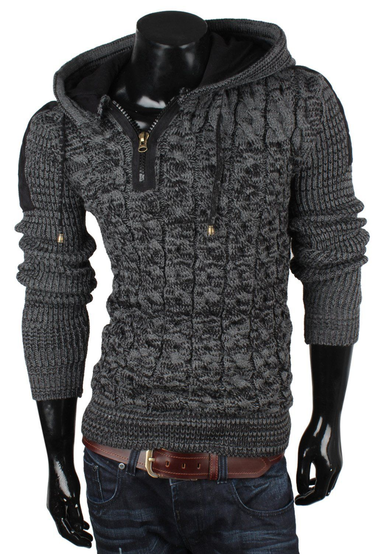 TAZZIO Herren Pullover Grobstrick Zopfmuster Pulli Sweatshirt Strickjacke  Jacke: Amazon.de: Bekleidung
