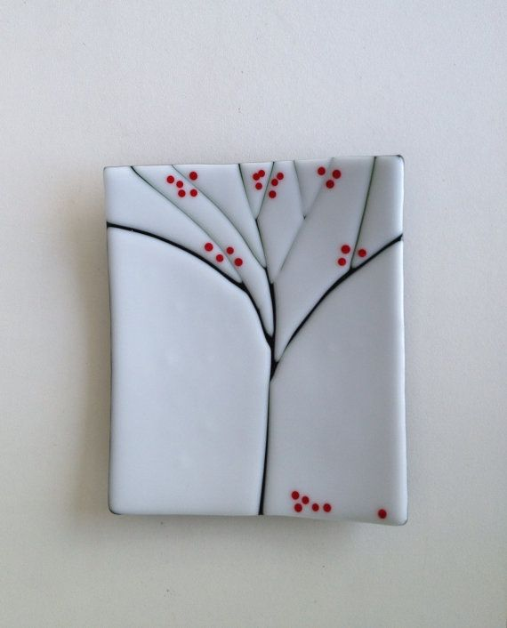 Fused Gl Sushi Plate With Tree Design By Whitethistlegl 55 00