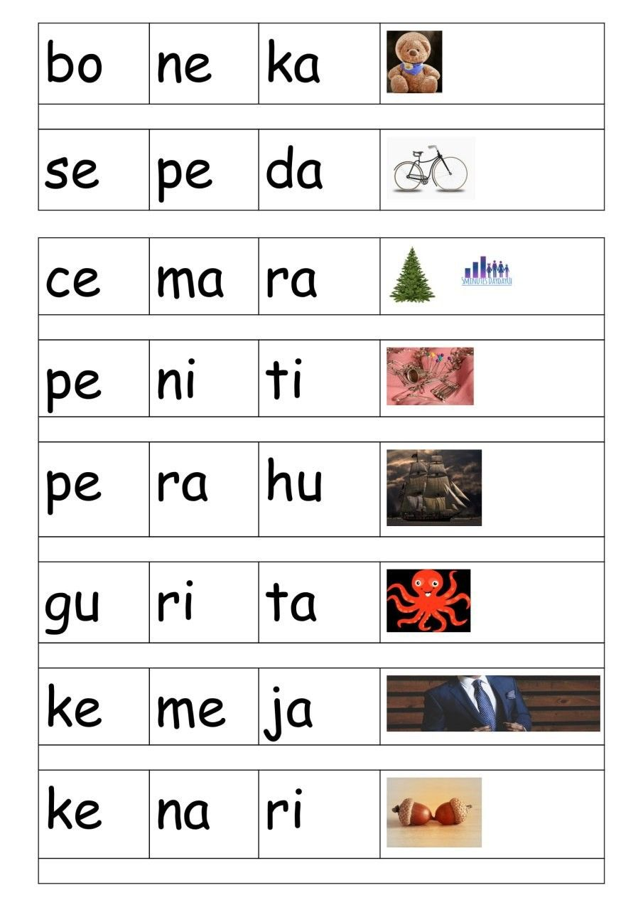 Belajar membaca tiga suku kata mengeja di 2020