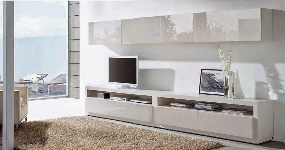 Composici n para sal n mistral de expormim muebles tv con for Modulos salon blanco