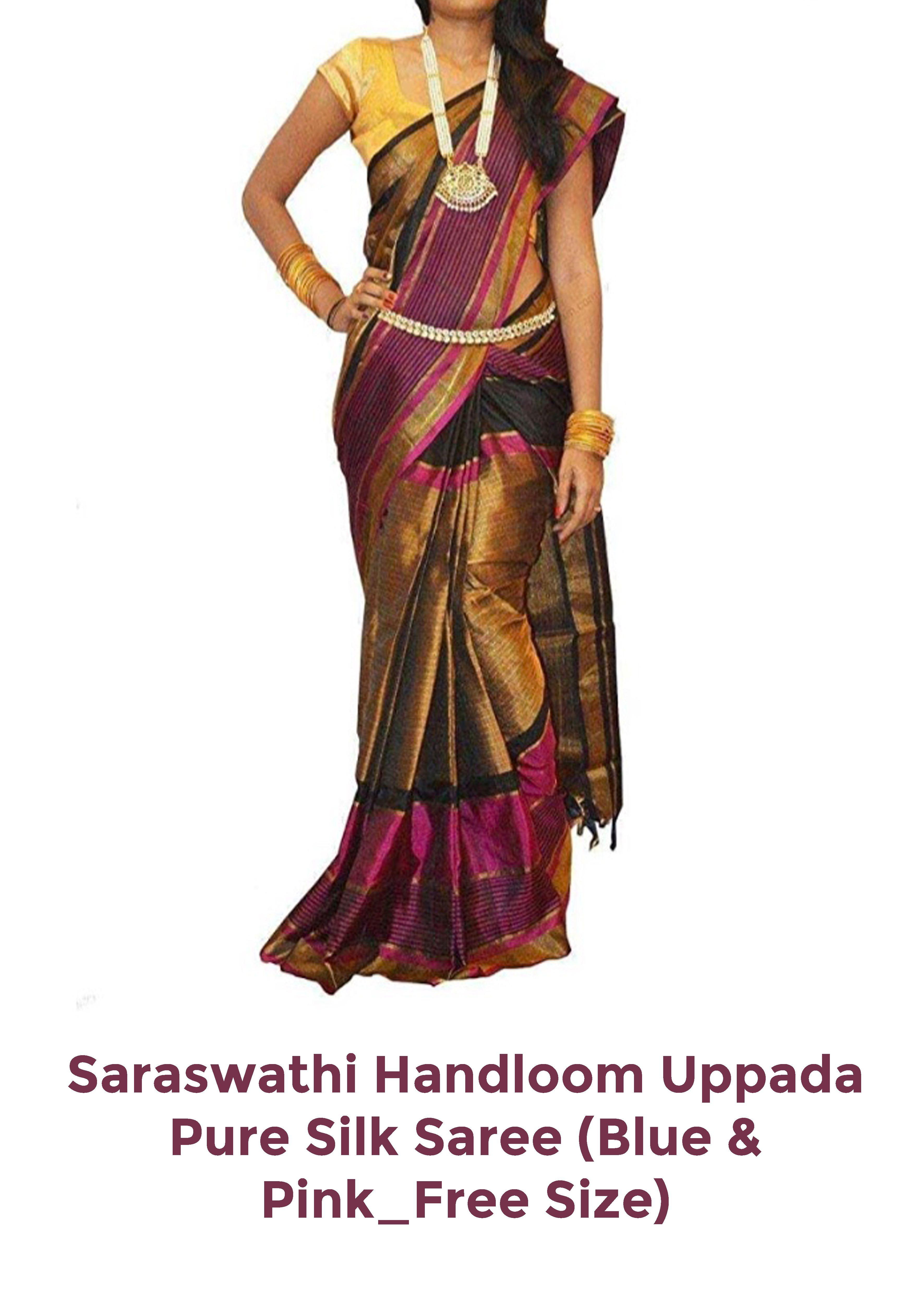 Pure silk saree 2018 uppada womenus silk saree with blouse pieceupblackfree size