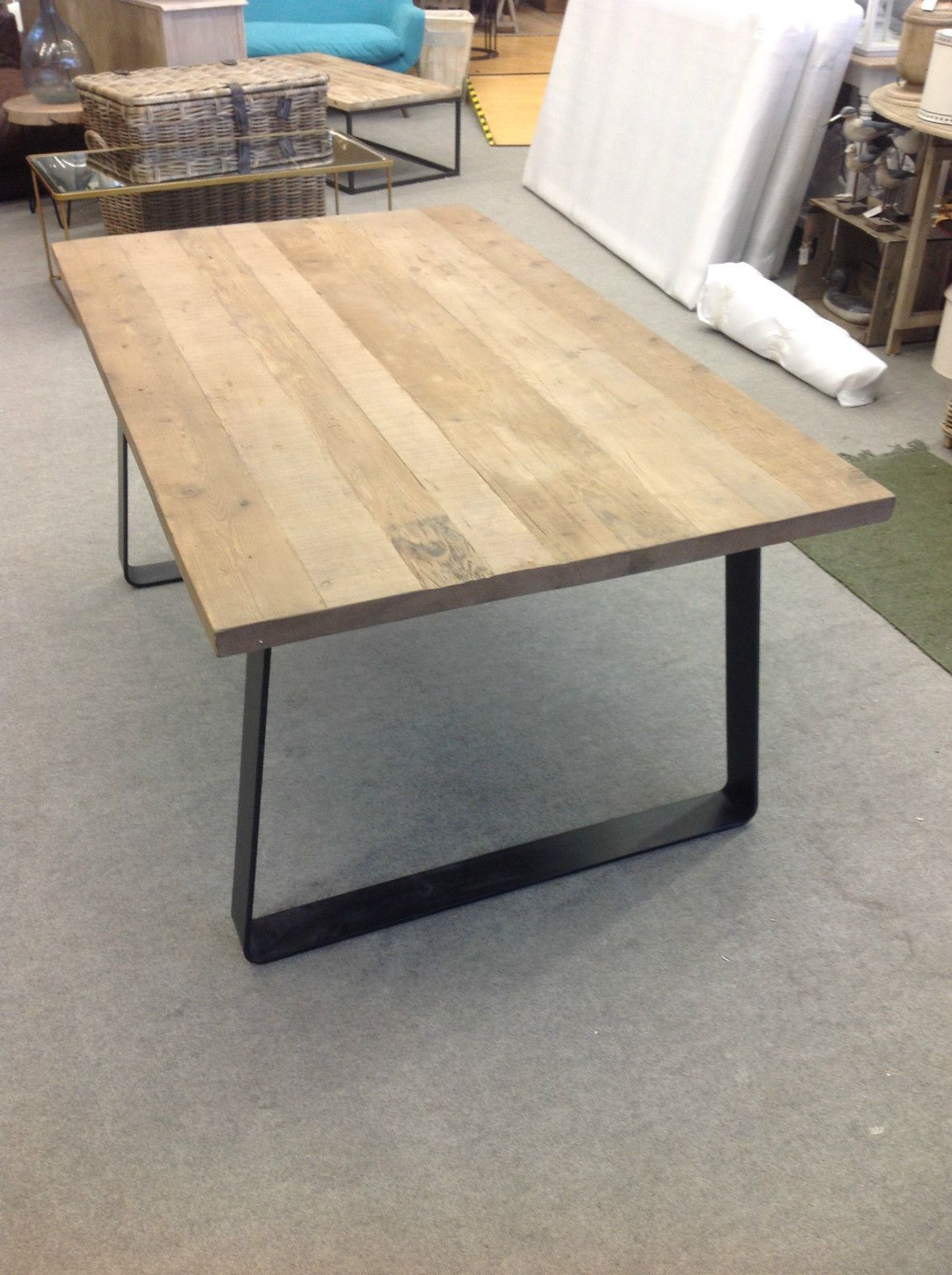Designer Brand Industrial Style Reclaimed Timber Top Dining Table Medium
