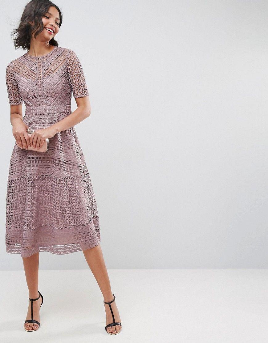 A1c305 Sukienka Midi Koronkowa Trapezowa 38 D00 7172232793 Oficjalne Archiwum Allegro Lace Midi Dress Guest Outfit Wedding Guest Outfit