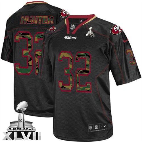60c9fc017e5 (Elite Nike Men s Kendall Hunter Black Super Bowl XLVII Jersey) San  Francisco 49ers  32 NFL Camo Fashion ...