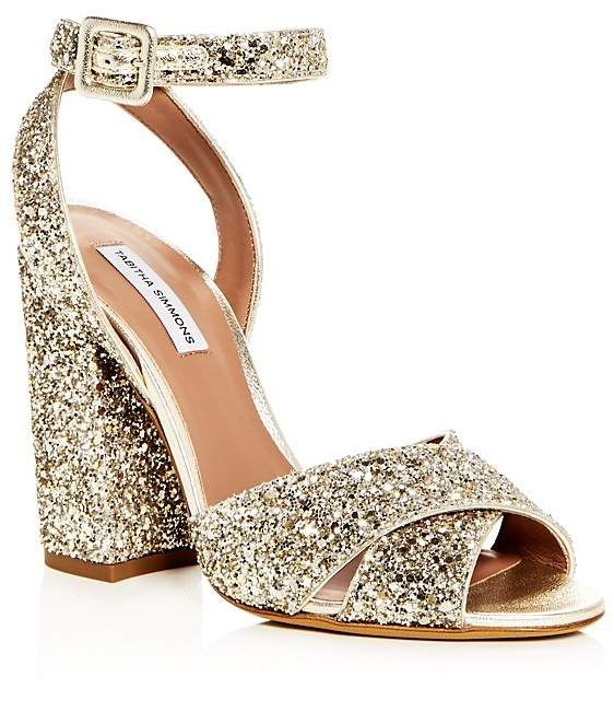 be4f7ede18e Tabitha Simmons Women s Connie Glitter Ankle Strap High Block Heel Sandals