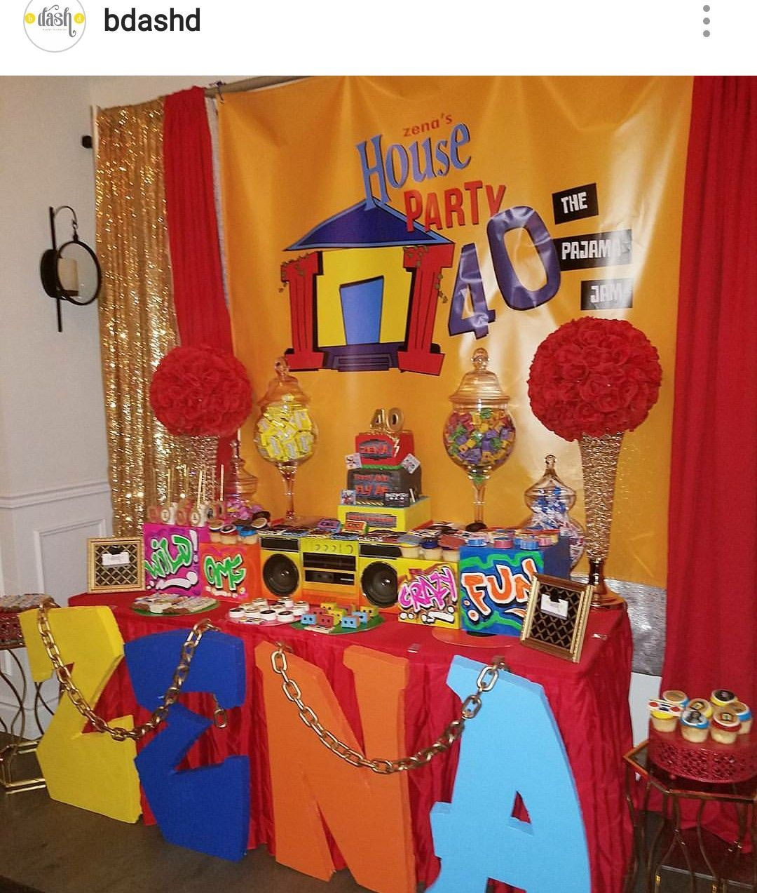 90s Theme 40th House Birthday Party Dessert Table And