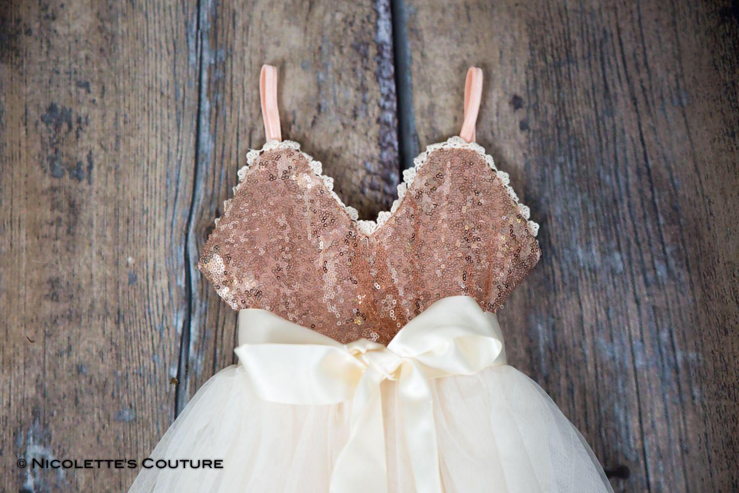 Rose gold infant flower girl dress cream tulle sash belt set rose