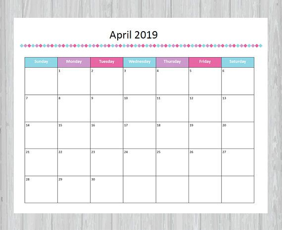 picture about April Calender Printable identify Printable April 2019 Calendar - Seasonal month to month calendar