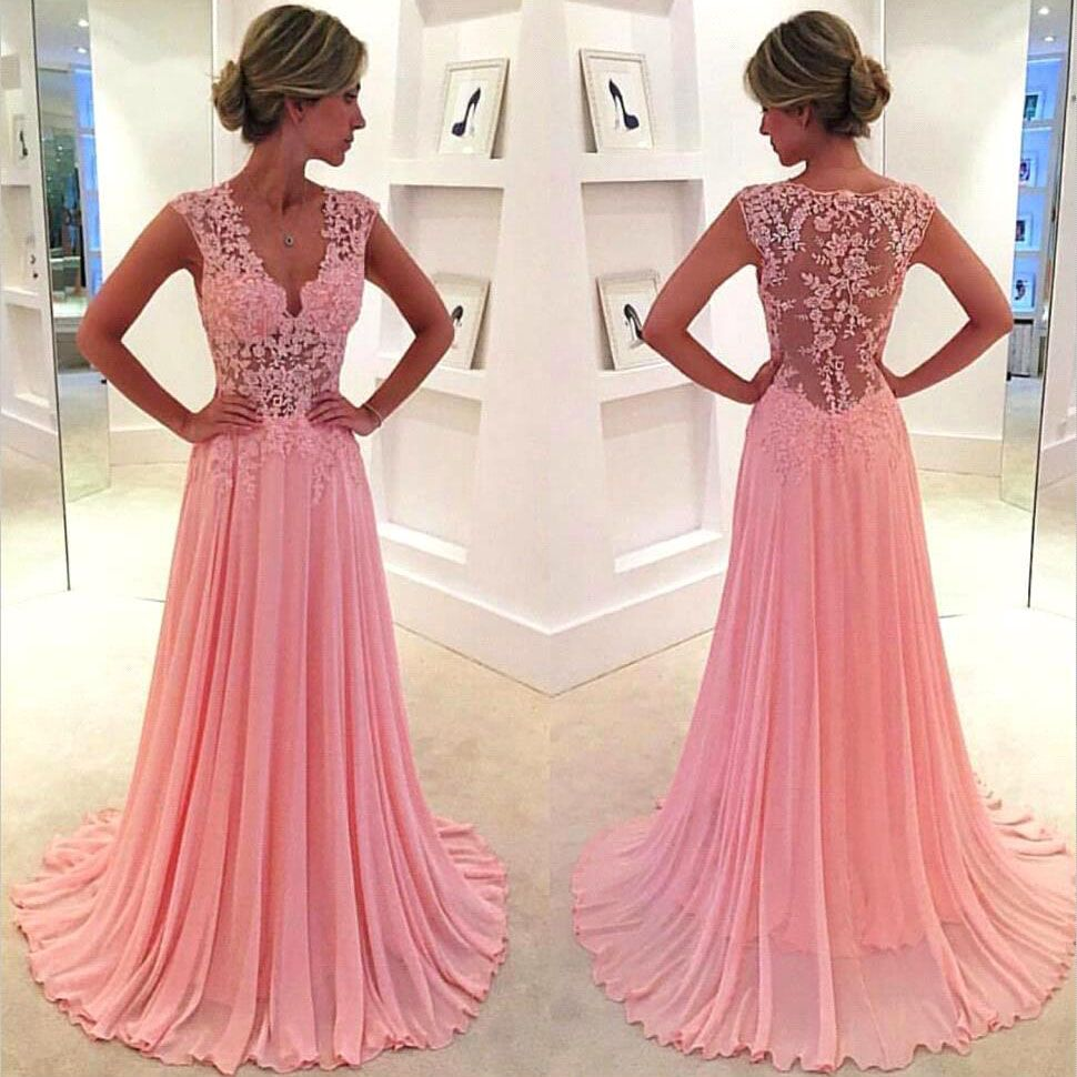 V-neck Pink Prom Dresses with Lace Appliques, Floral Lace Prom Dress ...