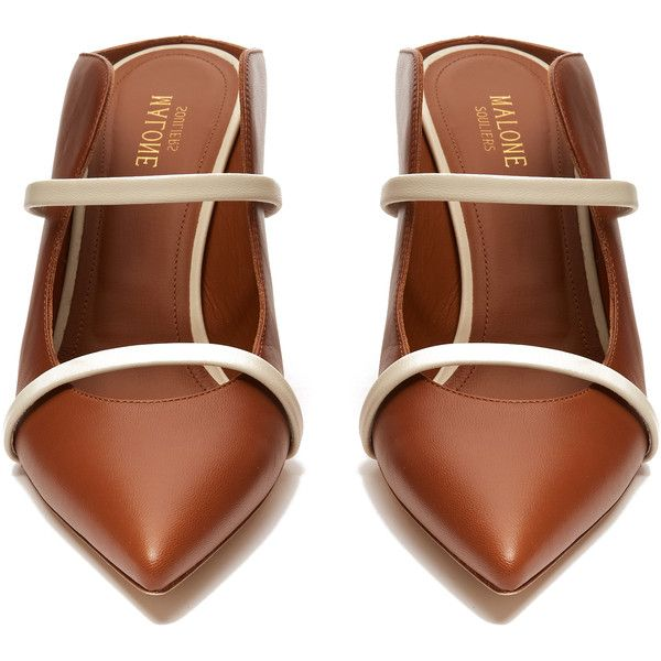 Malone Souliers Maureen leather mules (€375) ❤ liked on Polyvore featuring shoes, heels, flats, heeled mules, flat mules shoes, brown shoes, flat shoes and brown flats