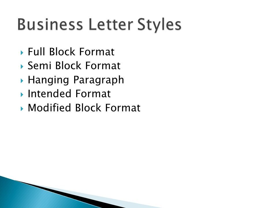 Full Block Format Semi Hanging Paragraph Intended Letters Power