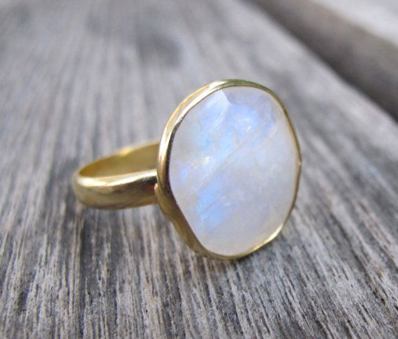 Moonstone Ring Rainbow Moonstone Ring Rainbow Ring Gold by Belesas