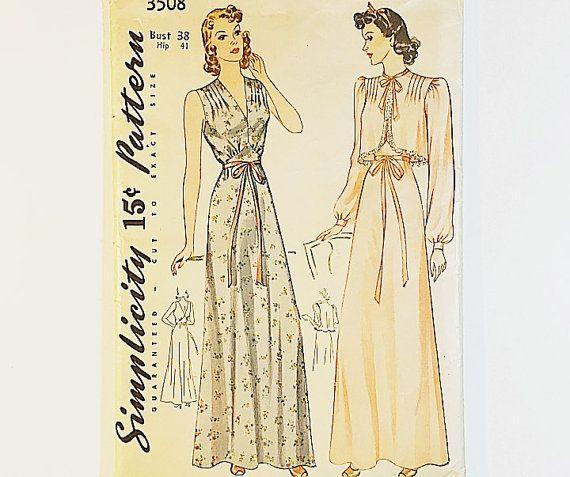 40er Jahre Nachthemd Muster Einfachheit 3508 von GraziosaVintage ...