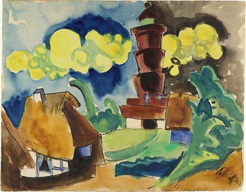 Karl Schmidt-Rottluff   (German, 1884–1976)  Landscape with Lighthouse ~ 1922 (Landschaft mit Leuchtturm)