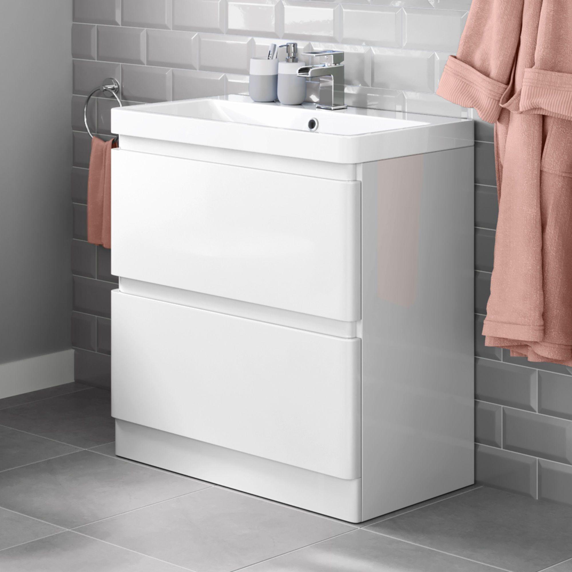 White Basin Drawer Unit Floor Standing Basin Vanity Unit Soak