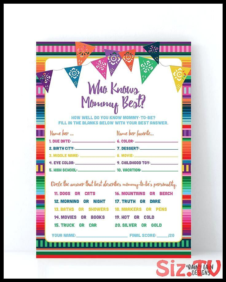 Who Knows Mommy Best Baby Shower Game Fiesta Baby Shower Game Printable Fiesta Baby Shower Games Baby Fiesta Game Fiesta Baby Shower fiesta kWho Knows Mommy Best Baby Sho...
