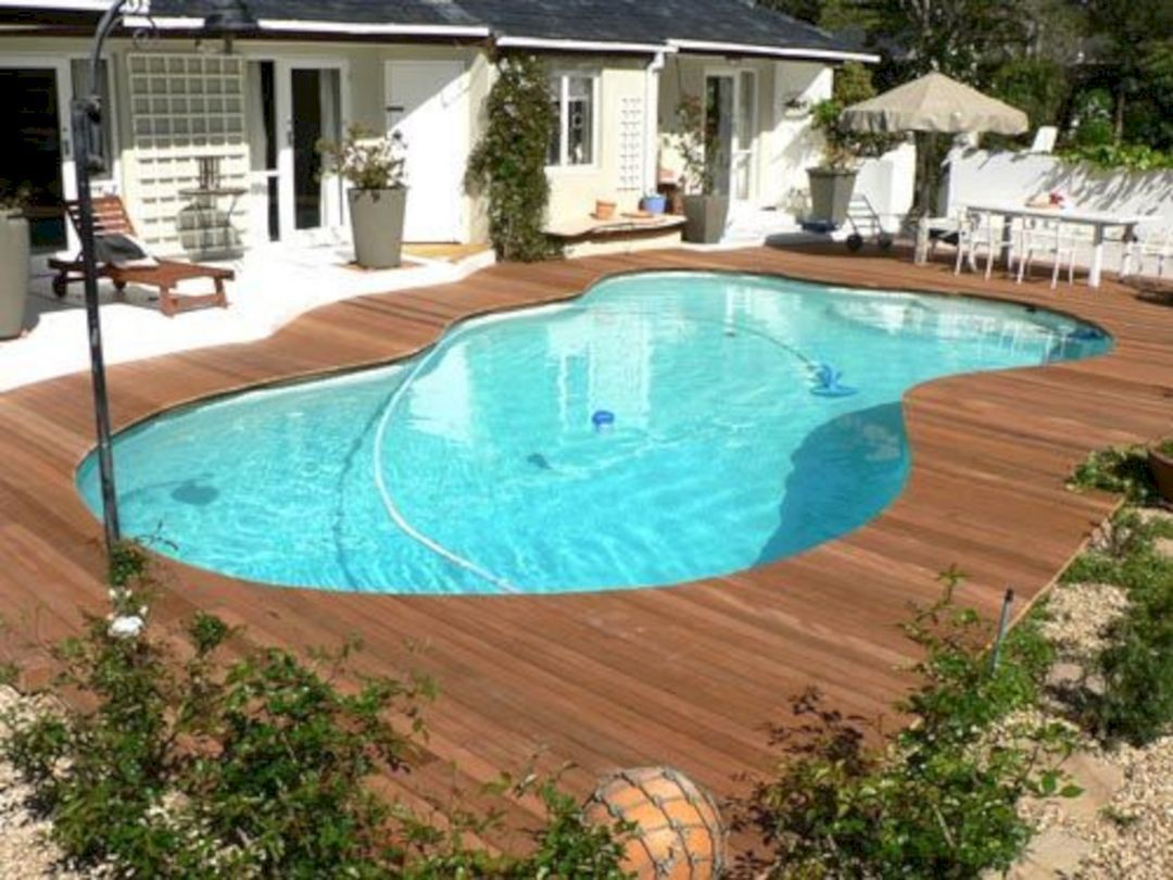 35 Incredible Wooden Deck Pool Ideas For Beautiful Outdoor Pool Wooden Pool Deck Decks Around Pools Pool Landscaping