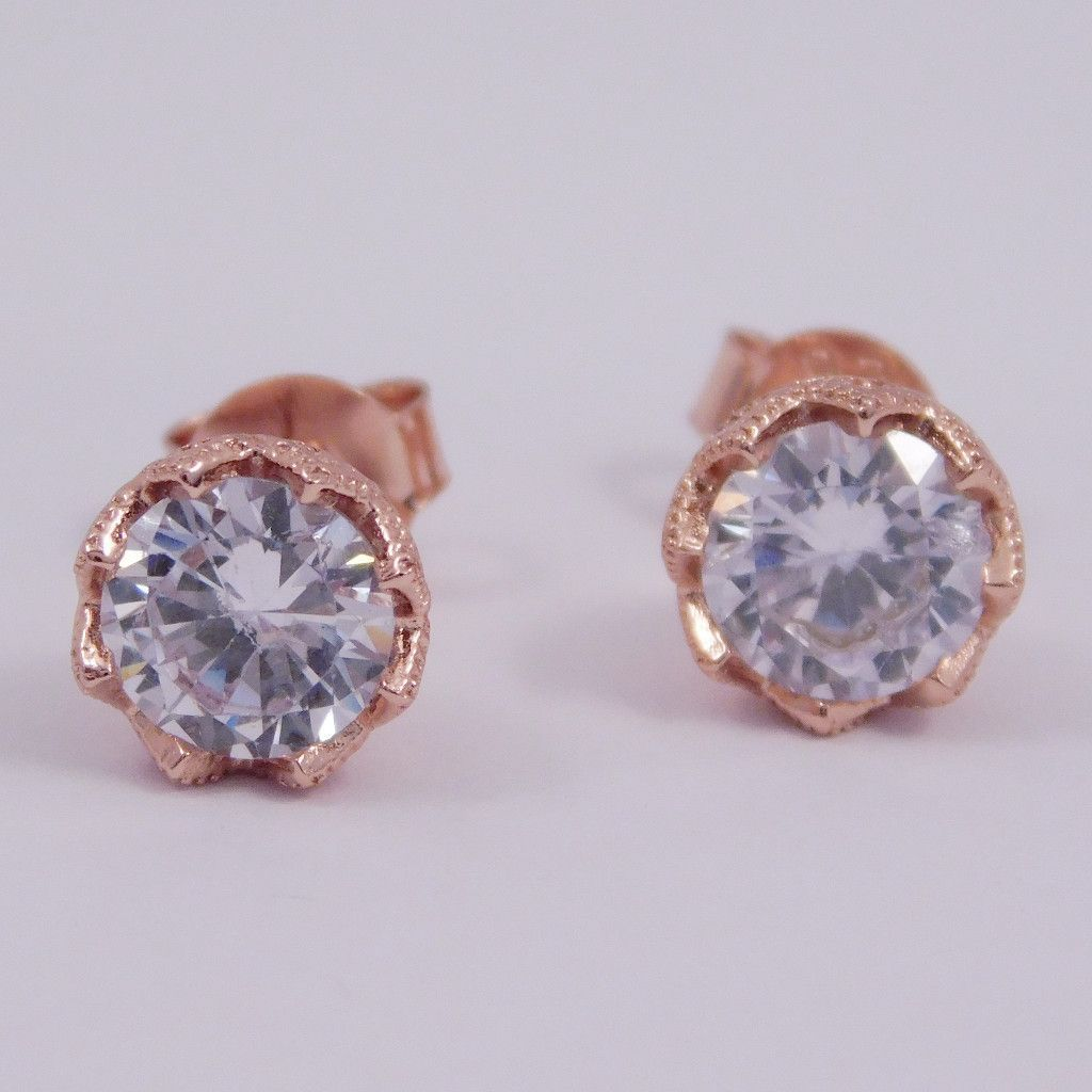 Princess Rose Gold CZ Post Earrings Earrings, Crown