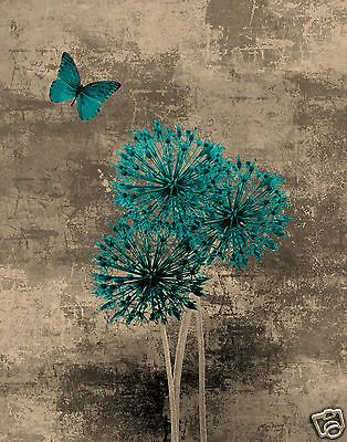 Teal Brown Blue Butterfly Floral Wall Art/Home Interior Decor Matted ...