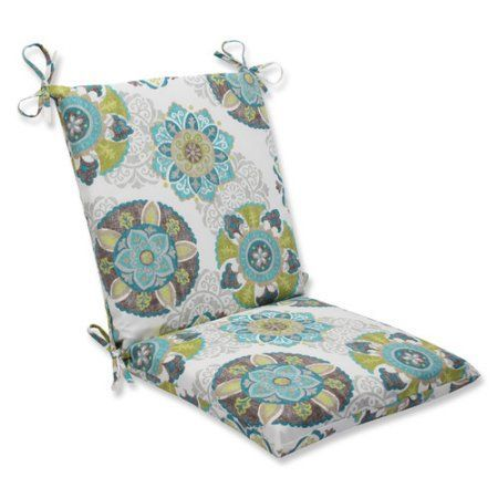 Pillow Perfect Outdoor/ Indoor Allodala Oasis Squared Corners Chair Cushion, Blue