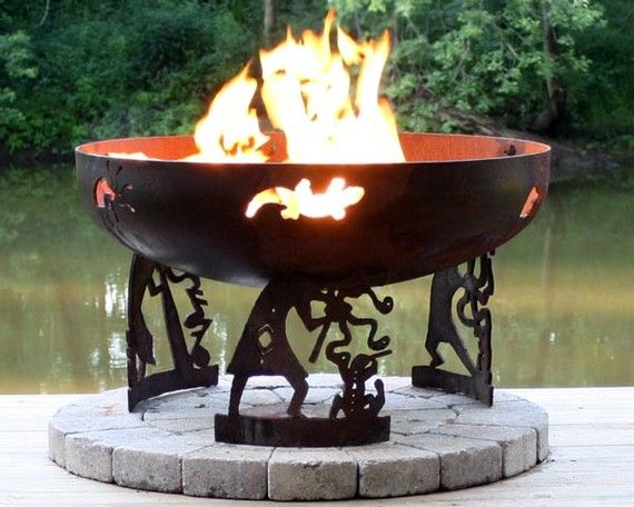 The Kokopelli Wood Burning Custom Steel Fire Pit Is Made In The Usa Has A Rust Patina Finish And Rain Drain I Fire Pit Fire Pit Gallery Contemporary Fire Pit
