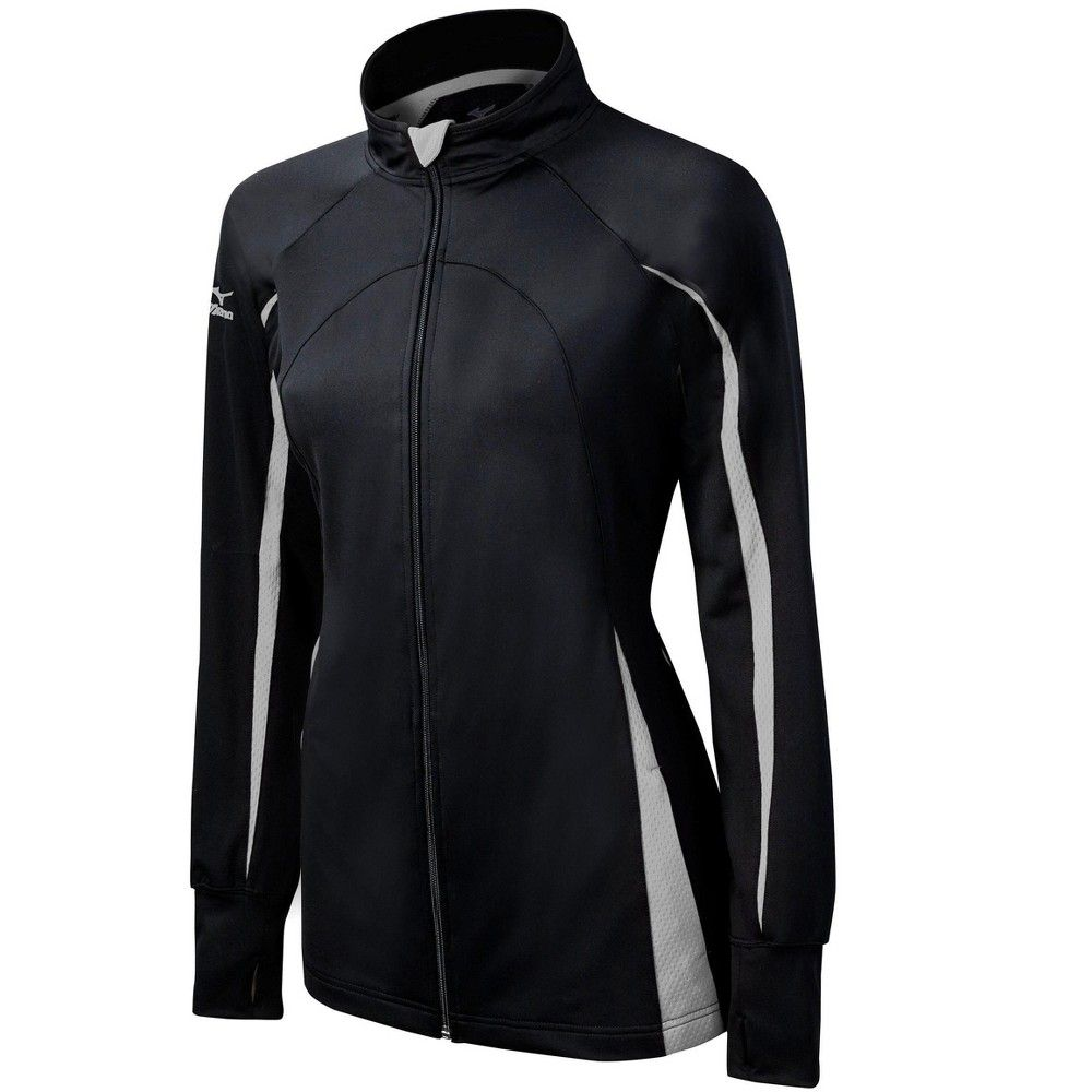Mizuno Women S Elite 9 Focus Full Zip Volleyball Jacket Size Extra Small In Color Black Grey 9091 Products In 2019 Workout Tops For Women Volleyball Outfits Active Wear