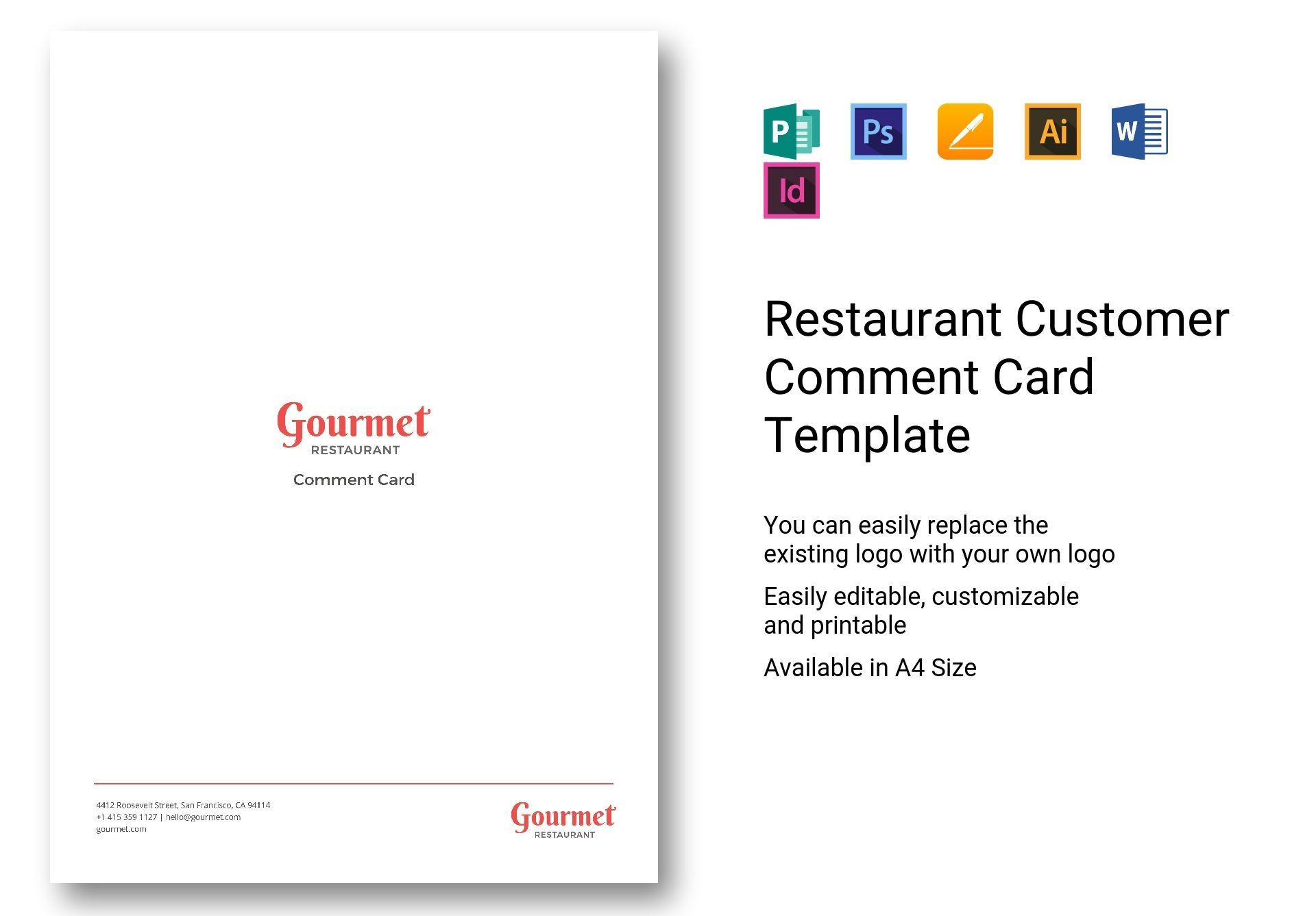 Restaurant Customer Comment Card Template In Psd Word Within Restaurant Business Card Template Word Free Business Card Templates Business Card Template Design