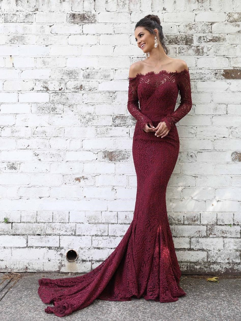 701e17c4fbb Off Shoulder Mid-sleeve Fitted Lace Mermaid Prom Dresses Evening Dress  LU1853