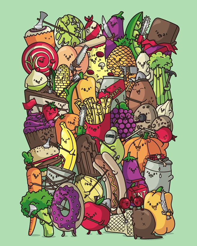 Food Fight Food Fight Illustration Cute Drawings