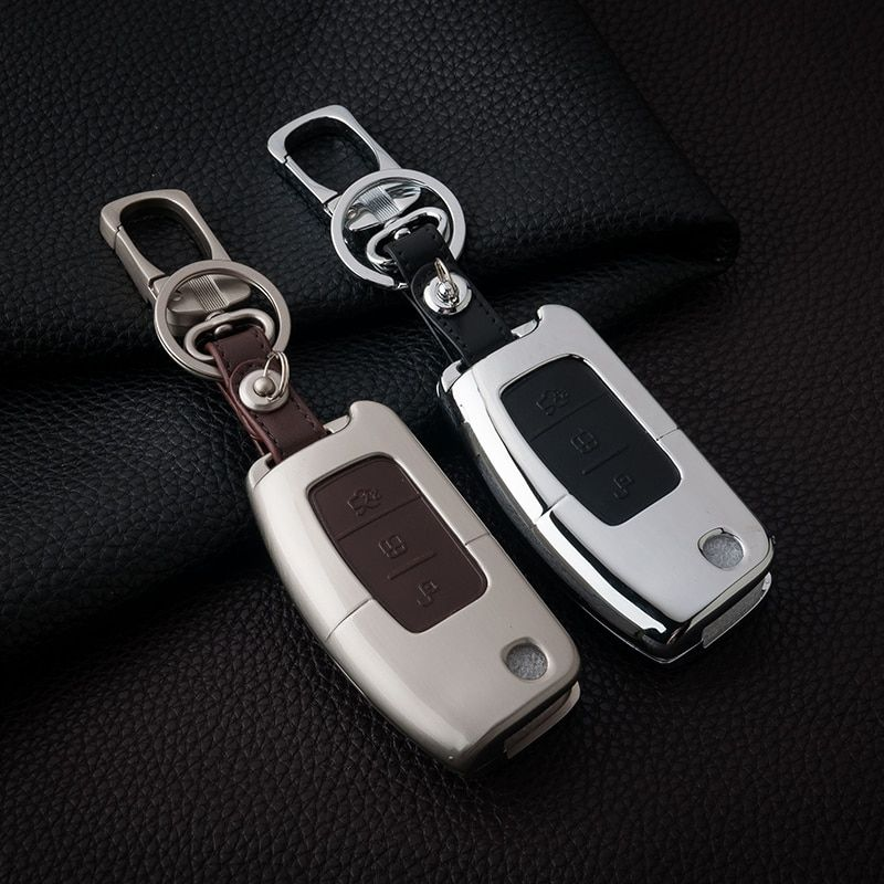 Leather Car Styling Auto Remote Key Cover Case Holder-fit Ford Kuga Ecosport