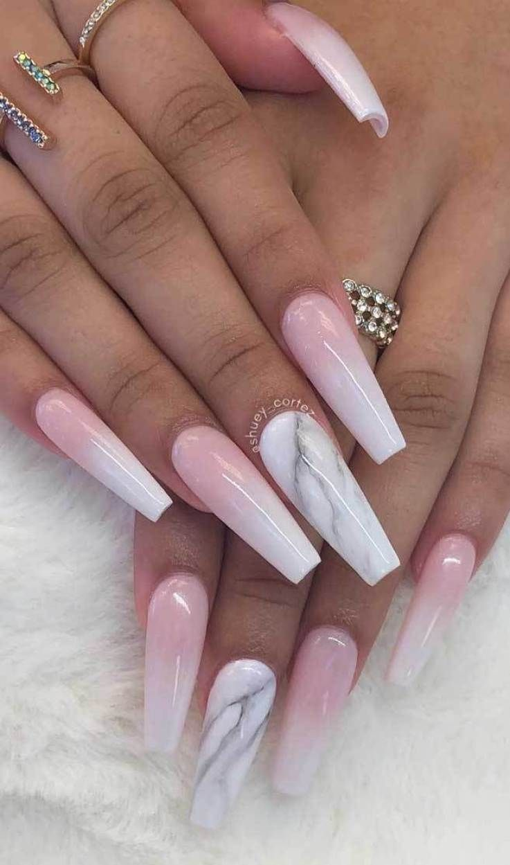 35 Hot And Trendy Nail Art Designs With A Marble Effect Coffin Nail With Marble Effect Coffin Trendy Nail Art Designs Ombre Nail Designs Coffin Nails Matte