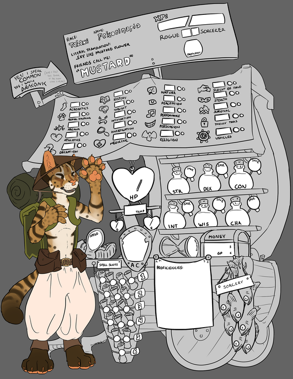 Art Custom Character Sheet For Mustard Traveling Tabaxi Merchant Dnd Dnd Character Sheet Character Sheet Rpg Character Sheet It is so awesome seeing more tabaxi characters and art! pinterest