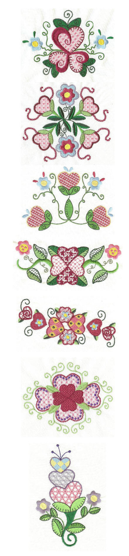 Embroidery designs | Free machine embroidery designs |Jacobean Hearts