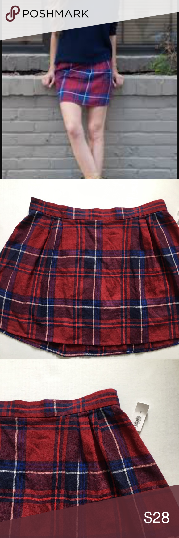 """75b0d2d9c2 NWT Old Navy Jupe Plaid Skirt Super cute plaid skirt with red with and blue  colors. Elastic stretch on back part of skirt. L: 17"""" (Pk#172) Old Navy  Skirts"""