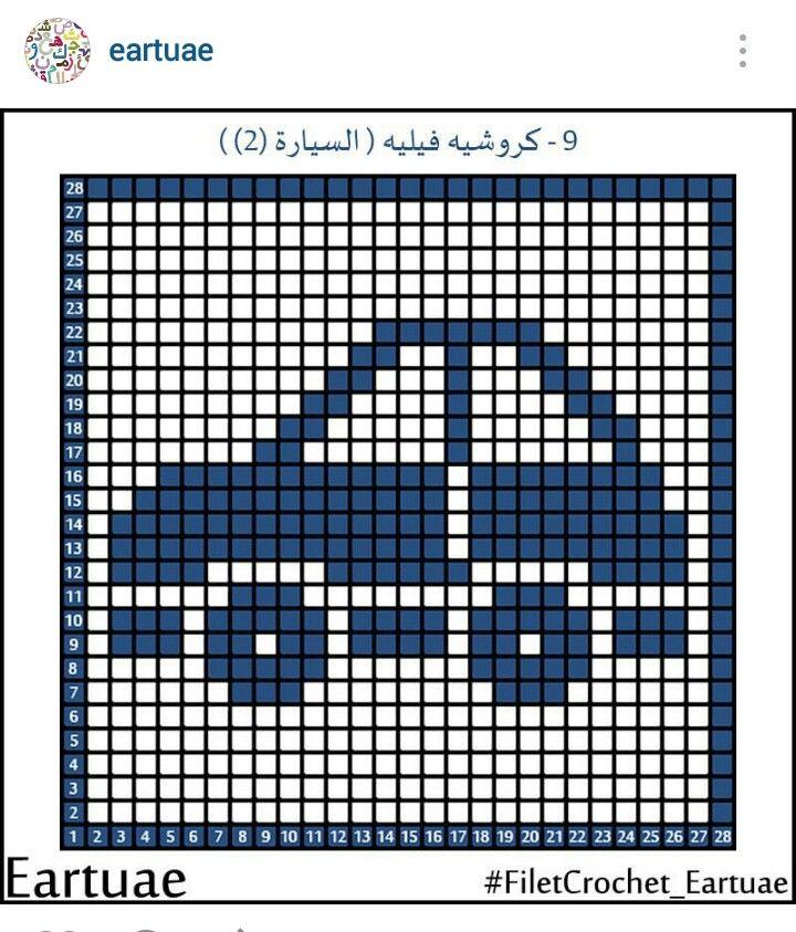 Instagram @eartuae - filet crochet small car #filetcrochet