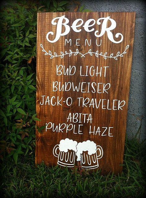 Beer Menu   Wood Wedding Decor   Restaurant by ArtAndSoulShoppe