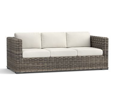 Huntington All Weather Wicker Square Arm Sofa #potterybarn