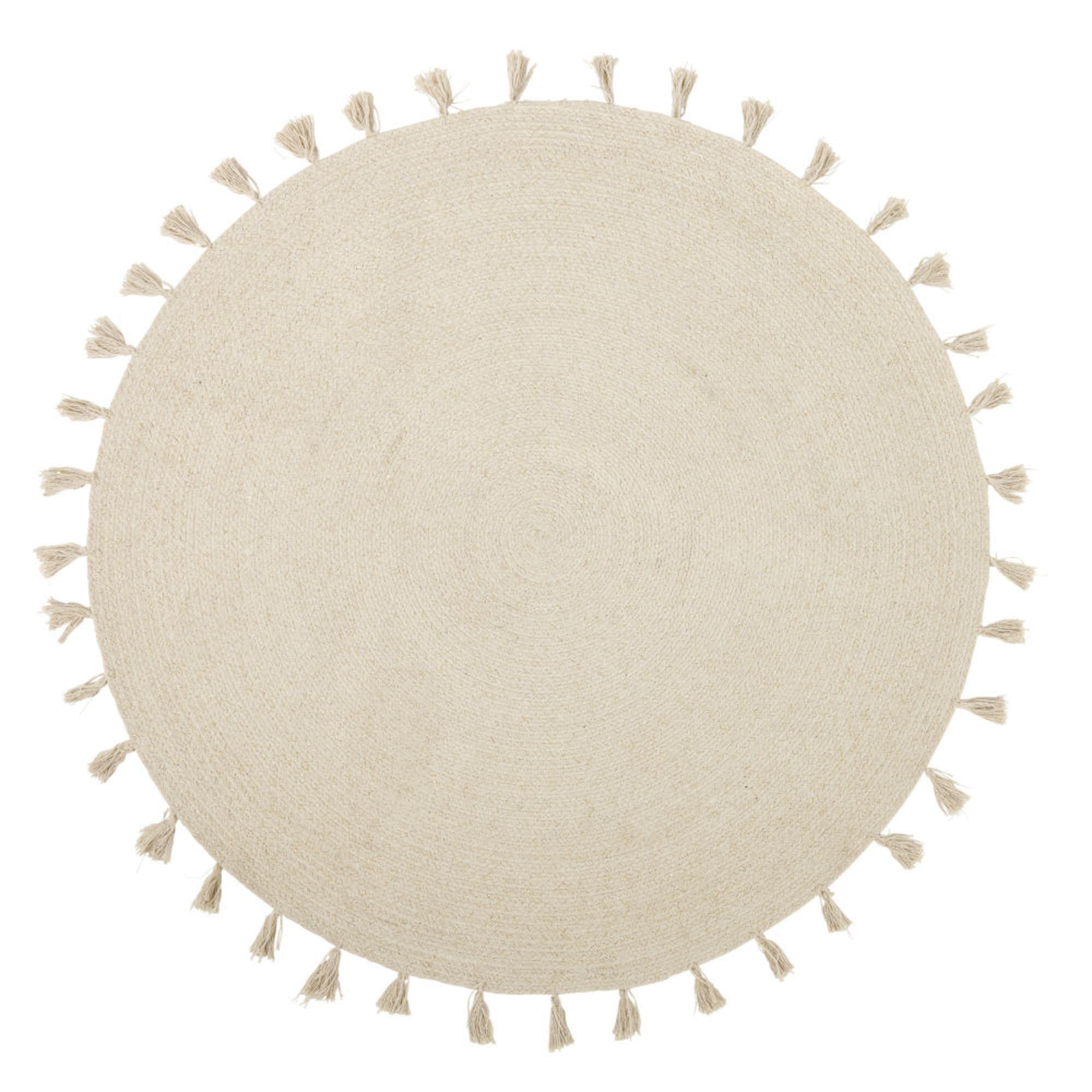 Round Ecru Braided Rug with Tassels D100 Decorative