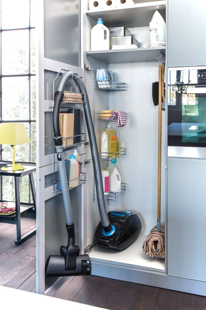 ... Contemporary Kitchen Inspiration With Broom Closet Cleaning Supply  Storage Clever Storage Kitchen Organization Metal Racks Vacuum Storage  (Contemporary ...